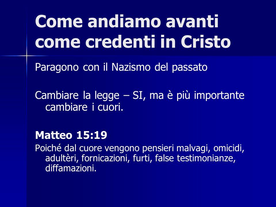 Come andiamo avanti come credenti in Cristo Paragono con il Nazismo del passato Cambiare la legge – SI, ma è più importante cambiare i cuori. Matteo 1