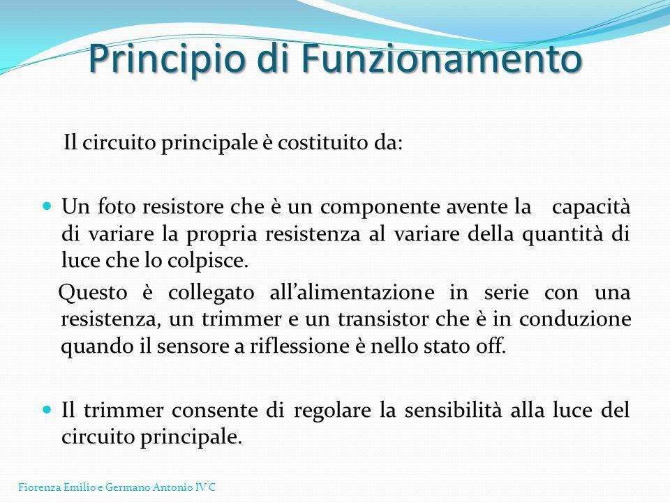 Integrato LM 339 http://www.datasheetcatalog.org/datasheet/nationalsemiconductor/DS005706.PDF http://www.datasheetcatalog.org/datasheet/nationalsemiconductor/DS005706.PDF Fotoresistore http://docs-europe.electrocomponents.com/webdocs/001a/0900766b8001a9d6.pdf Sensore a riflessione Tcrt5000 http://www.vishay.com/docs/83760/tcrt5000.pdf Transistors http://www.fairchildsemi.com/ds/2N/2N5172.pdf I DataSheets dei componenti Fiorenza Emilio e Germano Antonio IV C