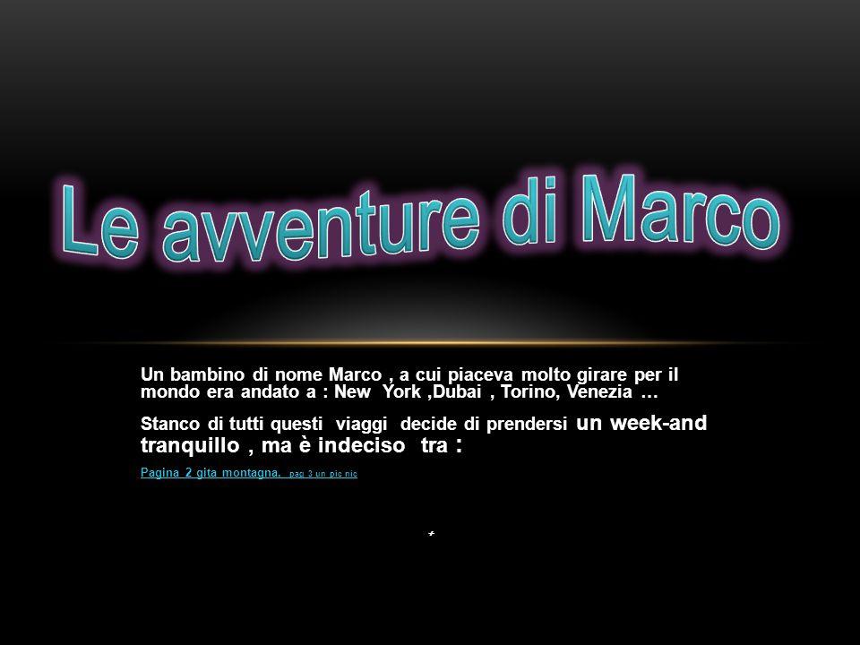 Un bambino di nome Marco, a cui piaceva molto girare per il mondo era andato a : New York,Dubai, Torino, Venezia … Stanco di tutti questi viaggi decid