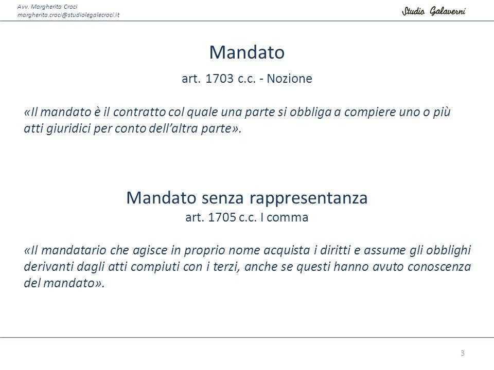 Avv. Margherita Croci margherita.croci@studiolegalecroci.it Mandato art. 1703 c.c. - Nozione «Il mandato è il contratto col quale una parte si obbliga