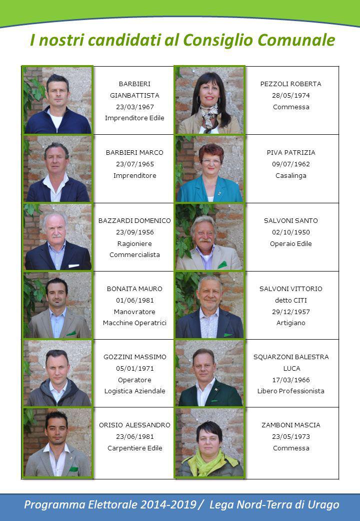 I nostri candidati al Consiglio Comunale Programma Elettorale 2014-2019 / Lega Nord-Terra di Urago BARBIERI GIANBATTISTA 23/03/1967 Imprenditore Edile
