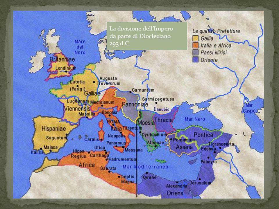 La divisione dell'Impero da parte di Diocleziano 293 d.C.