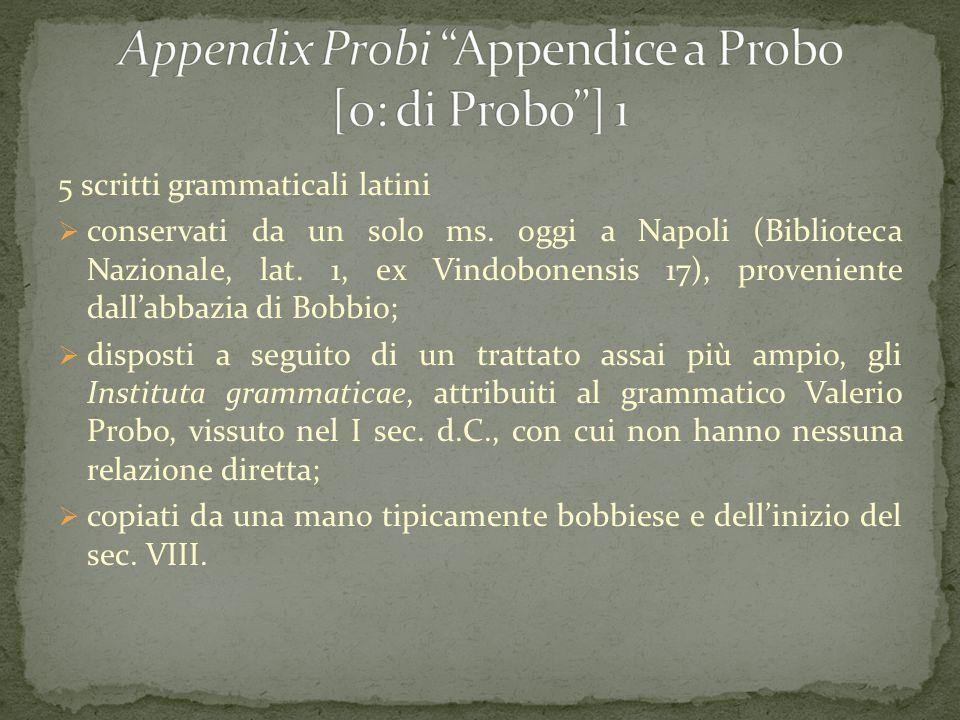 5 scritti grammaticali latini  conservati da un solo ms. oggi a Napoli (Biblioteca Nazionale, lat. 1, ex Vindobonensis 17), proveniente dall'abbazia