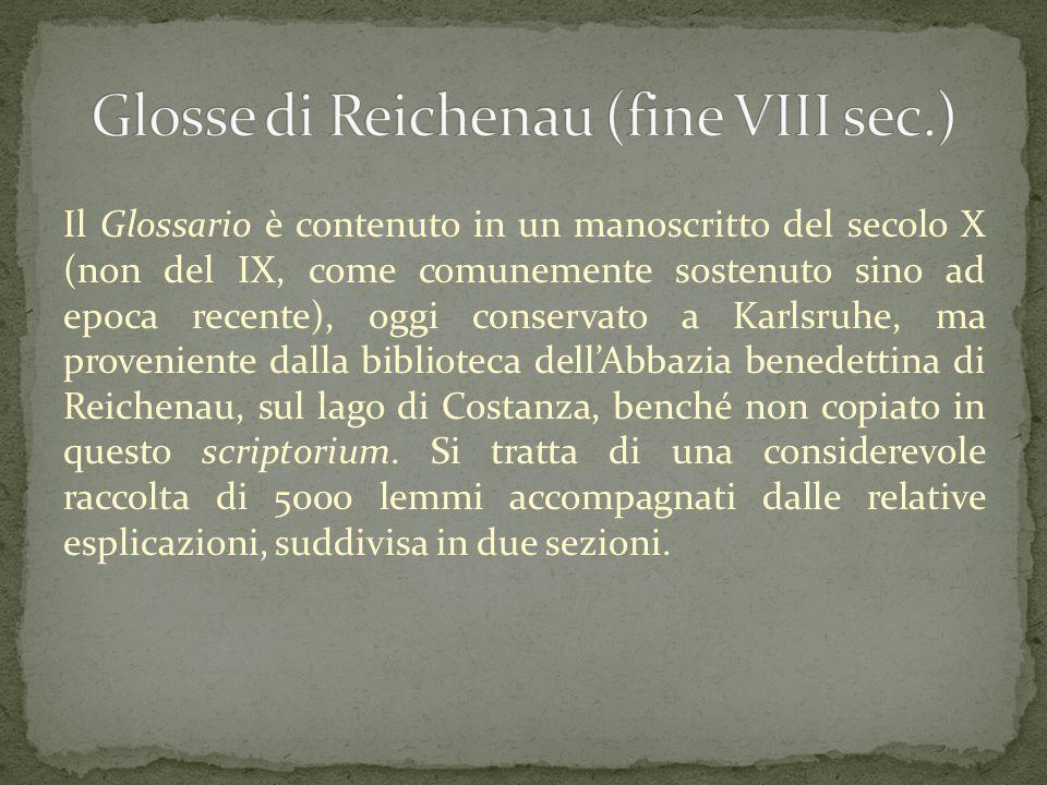 Il Glossario è contenuto in un manoscritto del secolo X (non del IX, come comunemente sostenuto sino ad epoca recente), oggi conservato a Karlsruhe, m