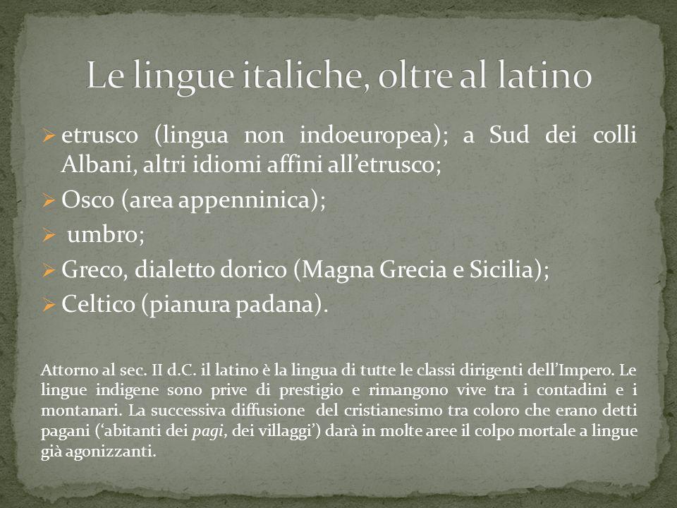  etrusco (lingua non indoeuropea); a Sud dei colli Albani, altri idiomi affini all'etrusco;  Osco (area appenninica);  umbro;  Greco, dialetto dor