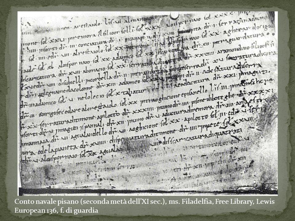 Conto navale pisano (seconda metà dell'XI sec.), ms. Filadelfia, Free Library, Lewis European 136, f. di guardia