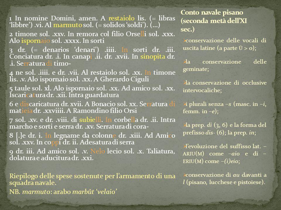 1 In nomine Domini, amen. A restaiolo lis. (= libras 'libbre').vi. Al marmuto sol. (= solidos 'soldi'). (...) 2 timone sol..xxv. In remora col filio O