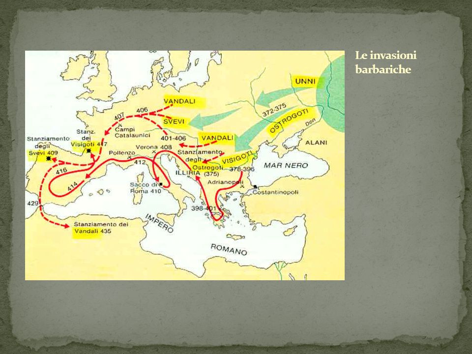 Gli stanziamenti germanici nel V sec. d.C.