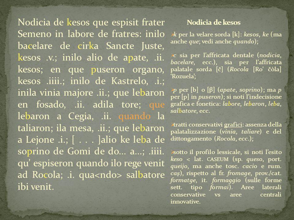 Nodicia de kesos que espisit frater Semeno in labore de fratres: inilo bacelare de cirka Sancte Juste, kesos.v.; inilo alio de apate,.ii. kesos; en qu