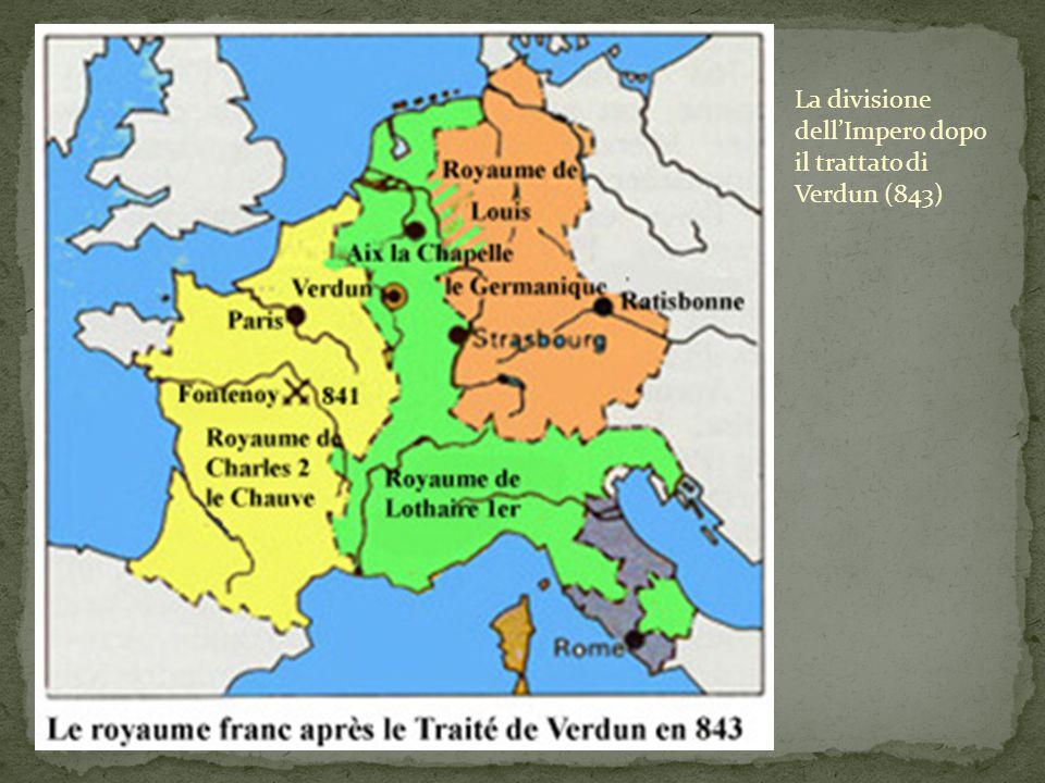 La divisione dell'Impero dopo il trattato di Verdun (843)