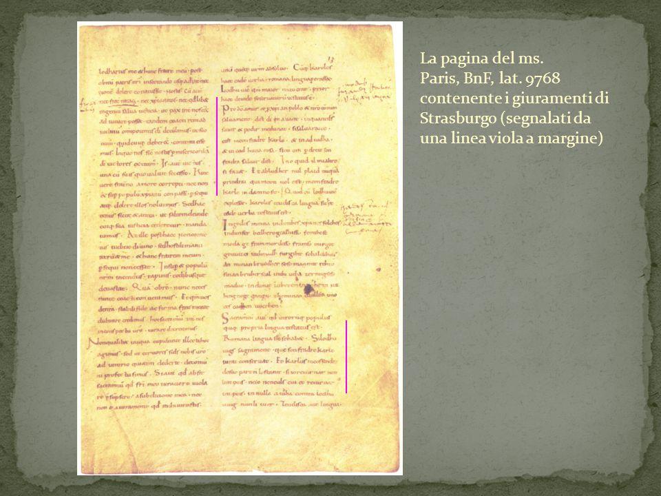 La pagina del ms. Paris, BnF, lat. 9768 contenente i giuramenti di Strasburgo (segnalati da una linea viola a margine)