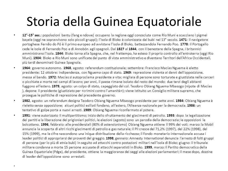 Storia della Guinea Equatoriale 12°-15° sec.: popolazioni bantu (fang e ndowe) occupano la regione oggi conosciuta come Rio Muni e scacciano i pigmei bayele (oggi ne sopravvivono solo piccoli gruppi); l'isola di Bioko è colonizzata dai bubi nel 13° secolo.