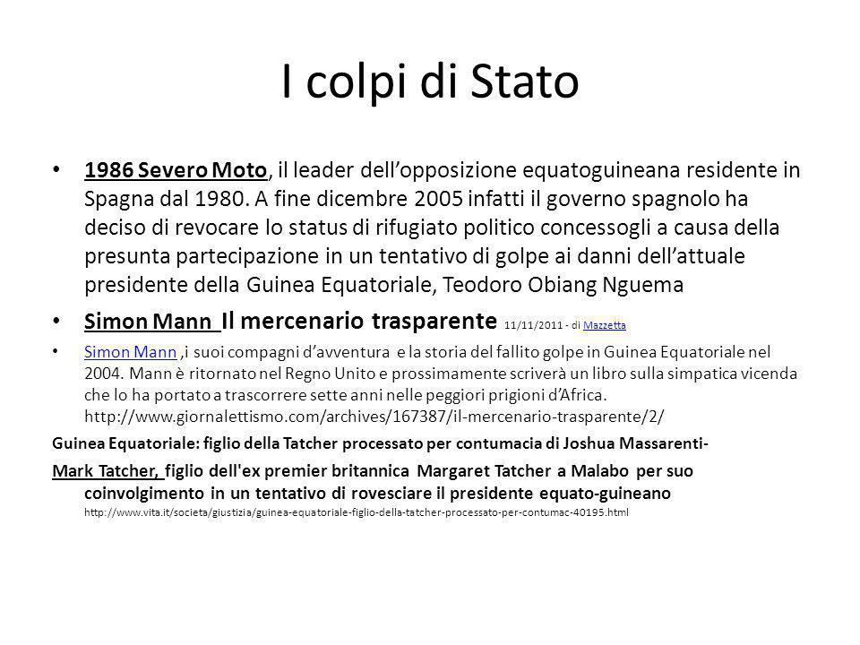 I colpi di Stato 1986 Severo Moto, il leader dell'opposizione equatoguineana residente in Spagna dal 1980.