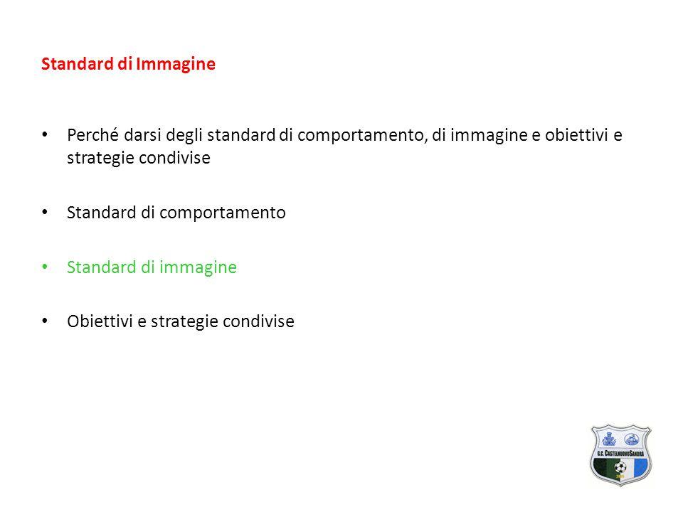 Standard di Immagine Perché darsi degli standard di comportamento, di immagine e obiettivi e strategie condivise Standard di comportamento Standard di immagine Obiettivi e strategie condivise