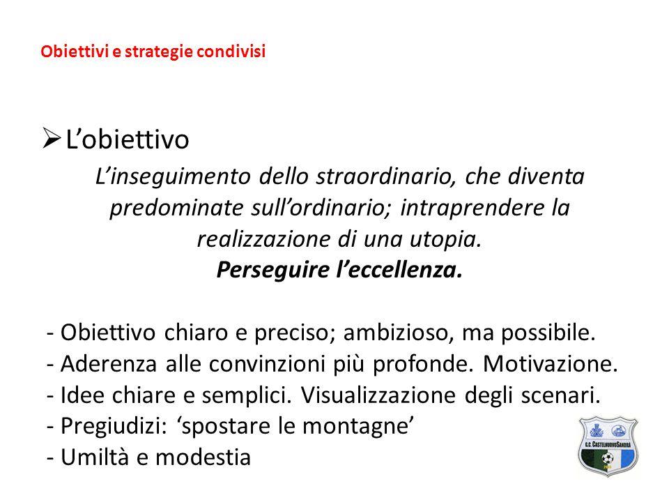 Obiettivi e strategie condivisi  L'obiettivo L'inseguimento dello straordinario, che diventa predominate sull'ordinario; intraprendere la realizzazione di una utopia.