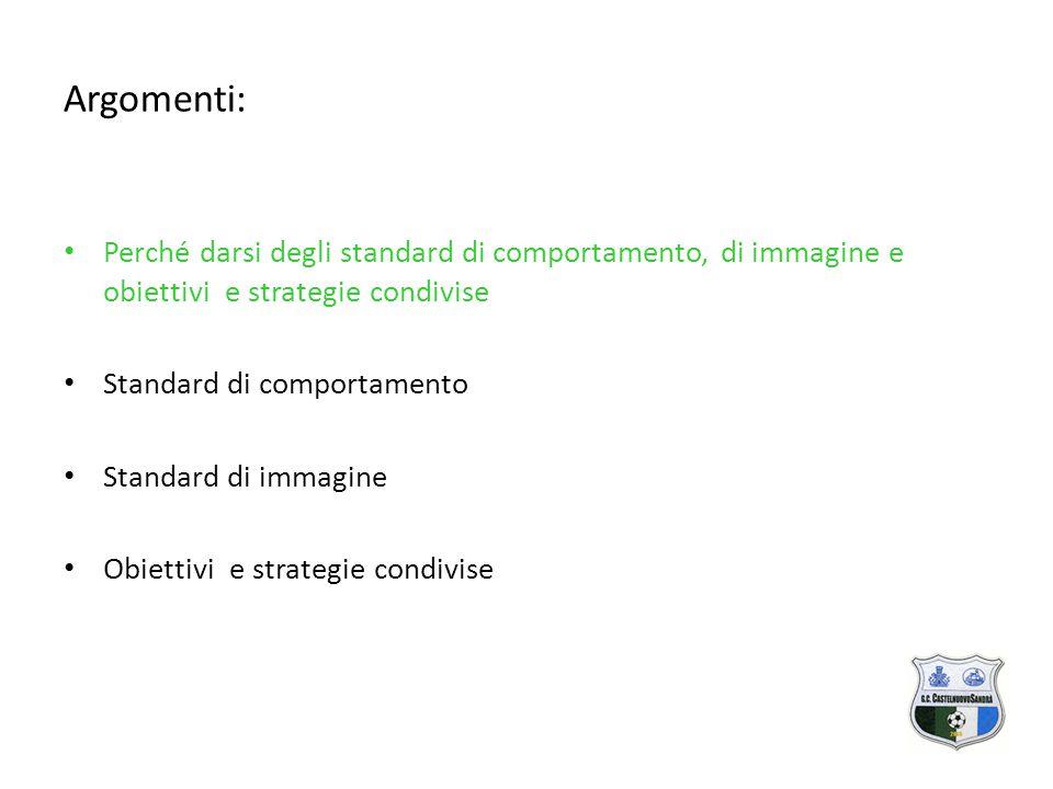 Argomenti: Perché darsi degli standard di comportamento, di immagine e obiettivi e strategie condivise Standard di comportamento Standard di immagine Obiettivi e strategie condivise