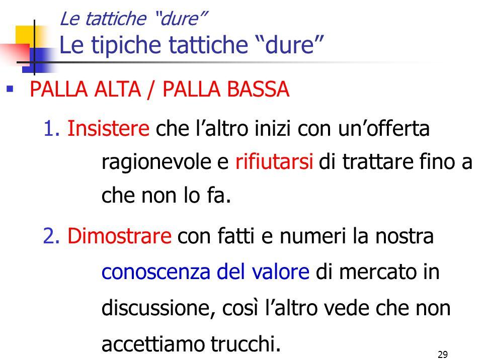 29 Le tattiche dure Le tipiche tattiche dure  PALLA ALTA / PALLA BASSA 1.