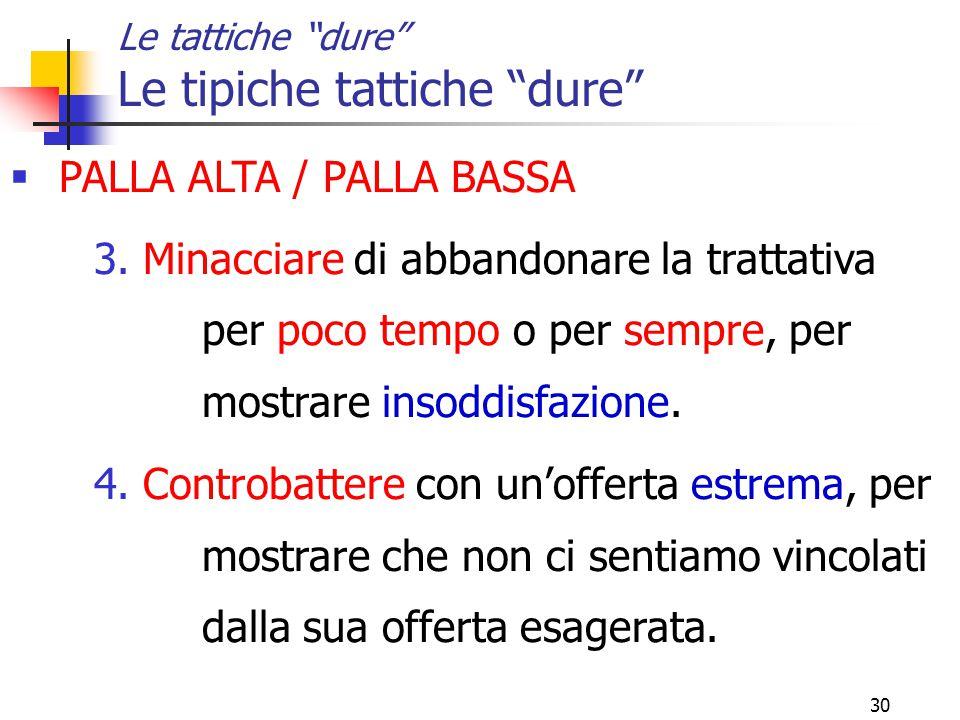 30 Le tattiche dure Le tipiche tattiche dure  PALLA ALTA / PALLA BASSA 3.