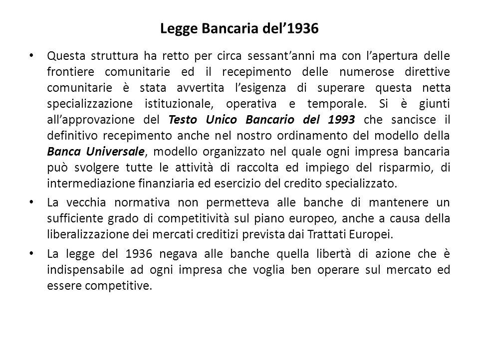 Legge Bancaria del'1936 Questa struttura ha retto per circa sessant'anni ma con l'apertura delle frontiere comunitarie ed il recepimento delle numerose direttive comunitarie è stata avvertita l'esigenza di superare questa netta specializzazione istituzionale, operativa e temporale.