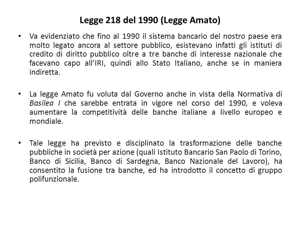 Legge 218 del 1990 (Legge Amato) Va evidenziato che fino al 1990 il sistema bancario del nostro paese era molto legato ancora al settore pubblico, esistevano infatti gli istituti di credito di diritto pubblico oltre a tre banche di interesse nazionale che facevano capo all'IRI, quindi allo Stato Italiano, anche se in maniera indiretta.