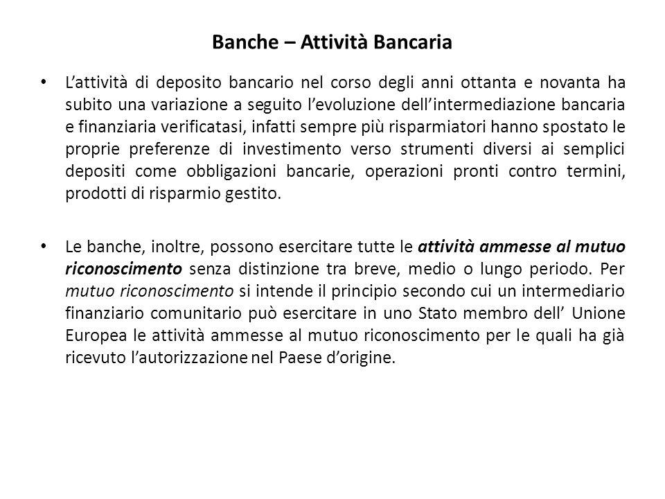 Banche – Attività Bancaria L'attività di deposito bancario nel corso degli anni ottanta e novanta ha subito una variazione a seguito l'evoluzione dell