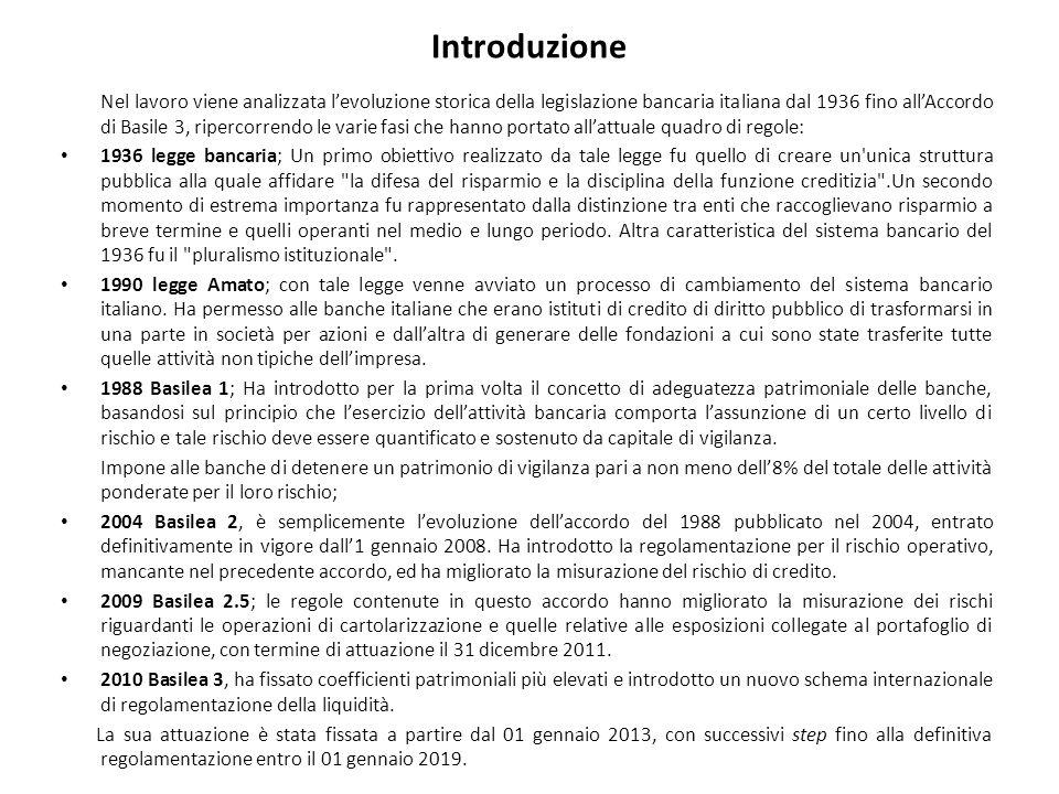 Introduzione Nel lavoro viene analizzata l'evoluzione storica della legislazione bancaria italiana dal 1936 fino all'Accordo di Basile 3, ripercorrend