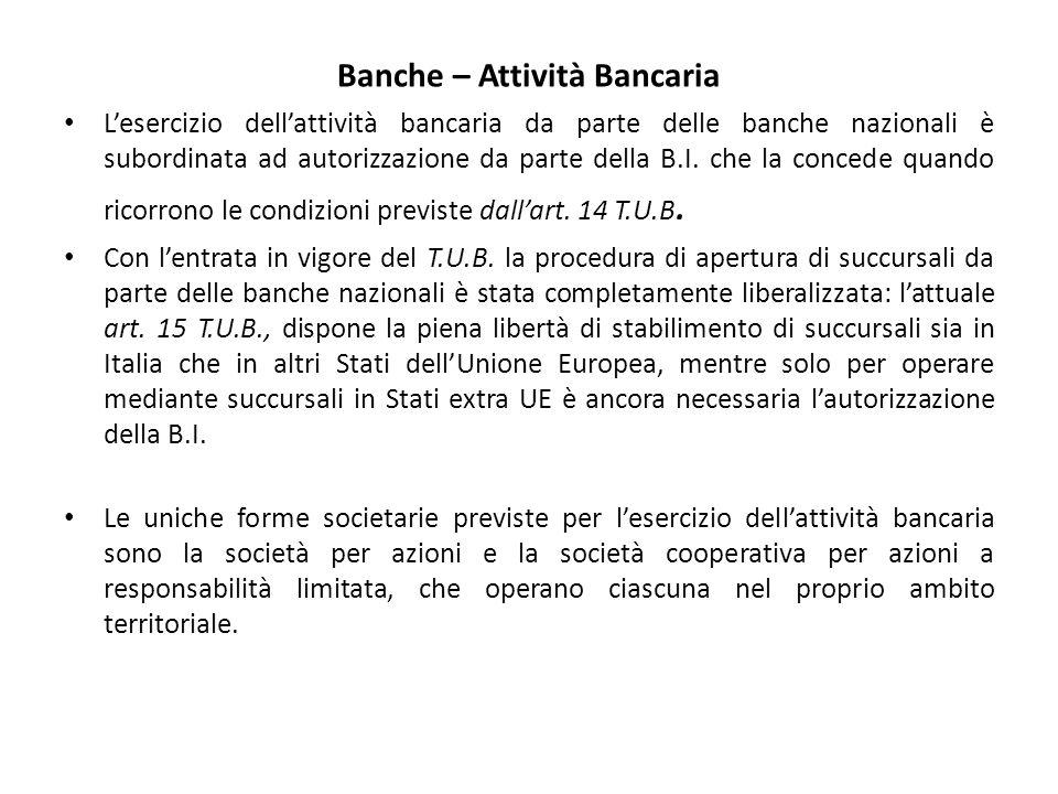 Banche – Attività Bancaria L'esercizio dell'attività bancaria da parte delle banche nazionali è subordinata ad autorizzazione da parte della B.I.