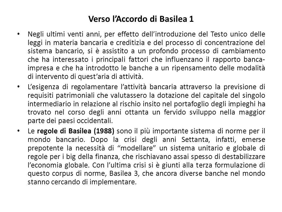 Verso l'Accordo di Basilea 1 Negli ultimi venti anni, per effetto dell'introduzione del Testo unico delle leggi in materia bancaria e creditizia e del