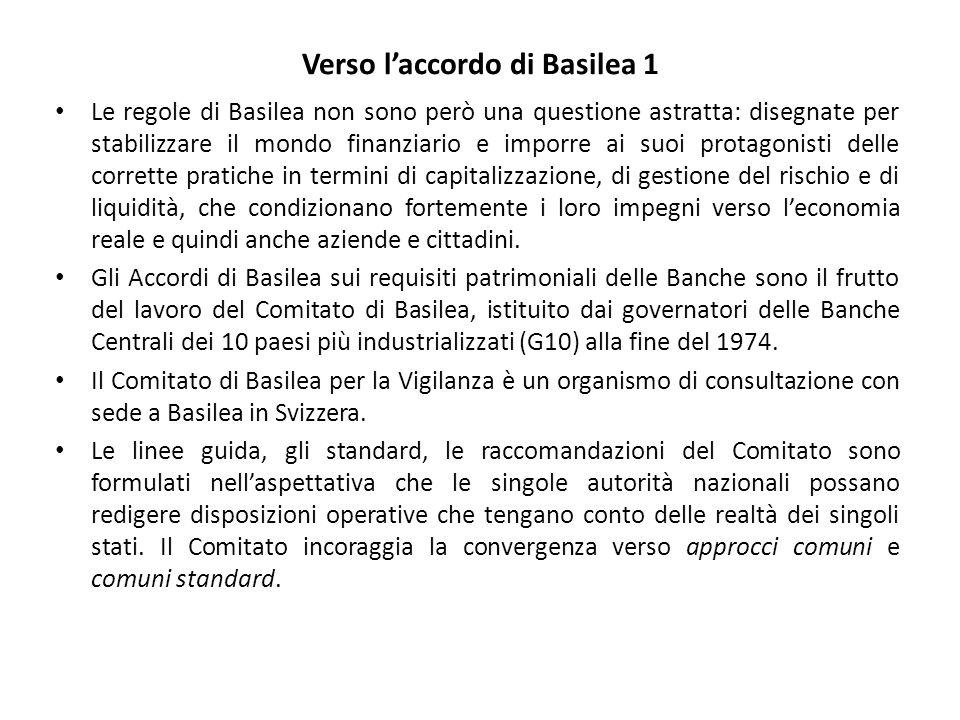Verso l'accordo di Basilea 1 Le regole di Basilea non sono però una questione astratta: disegnate per stabilizzare il mondo finanziario e imporre ai suoi protagonisti delle corrette pratiche in termini di capitalizzazione, di gestione del rischio e di liquidità, che condizionano fortemente i loro impegni verso l'economia reale e quindi anche aziende e cittadini.