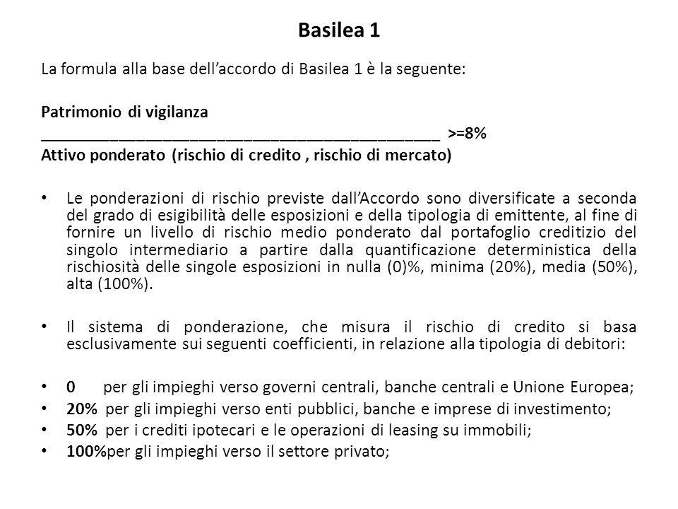 Basilea 1 La formula alla base dell'accordo di Basilea 1 è la seguente: Patrimonio di vigilanza _____________________________________________ >=8% Attivo ponderato (rischio di credito, rischio di mercato) Le ponderazioni di rischio previste dall'Accordo sono diversificate a seconda del grado di esigibilità delle esposizioni e della tipologia di emittente, al fine di fornire un livello di rischio medio ponderato dal portafoglio creditizio del singolo intermediario a partire dalla quantificazione deterministica della rischiosità delle singole esposizioni in nulla (0)%, minima (20%), media (50%), alta (100%).
