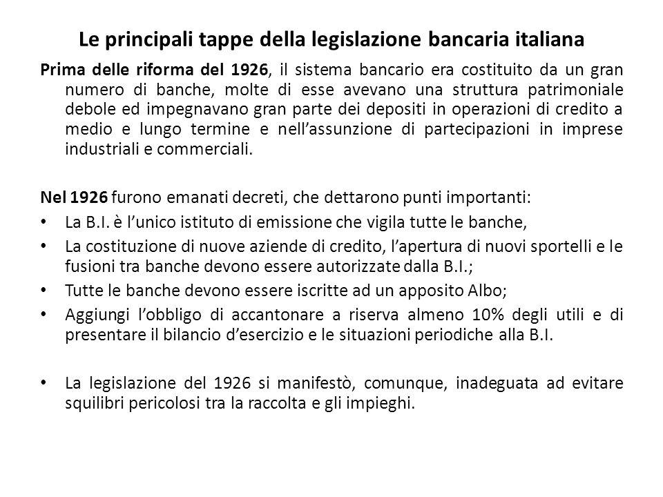 Le principali tappe della legislazione bancaria italiana Prima delle riforma del 1926, il sistema bancario era costituito da un gran numero di banche, molte di esse avevano una struttura patrimoniale debole ed impegnavano gran parte dei depositi in operazioni di credito a medio e lungo termine e nell'assunzione di partecipazioni in imprese industriali e commerciali.