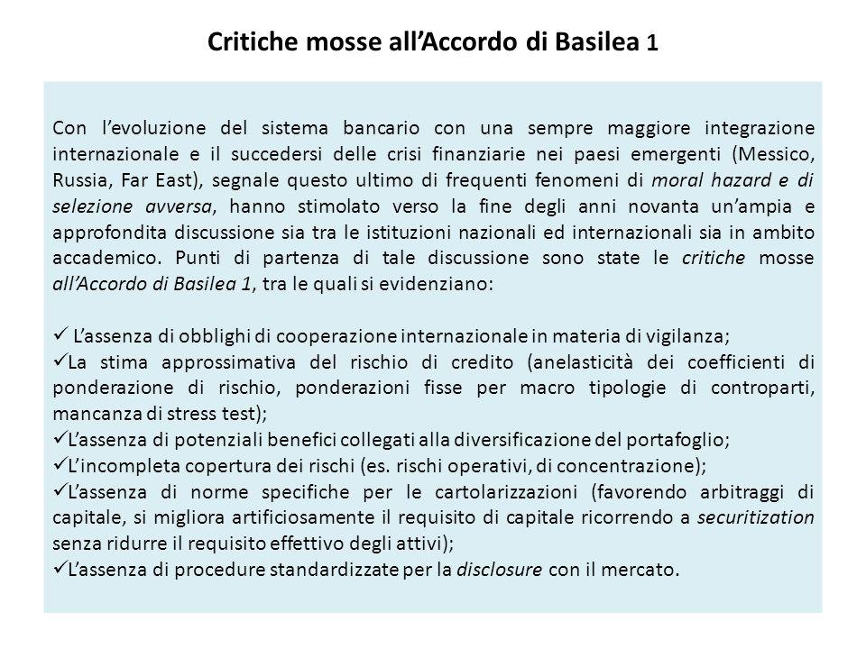 Critiche mosse all'Accordo di Basilea 1 Con l'evoluzione del sistema bancario con una sempre maggiore integrazione internazionale e il succedersi dell