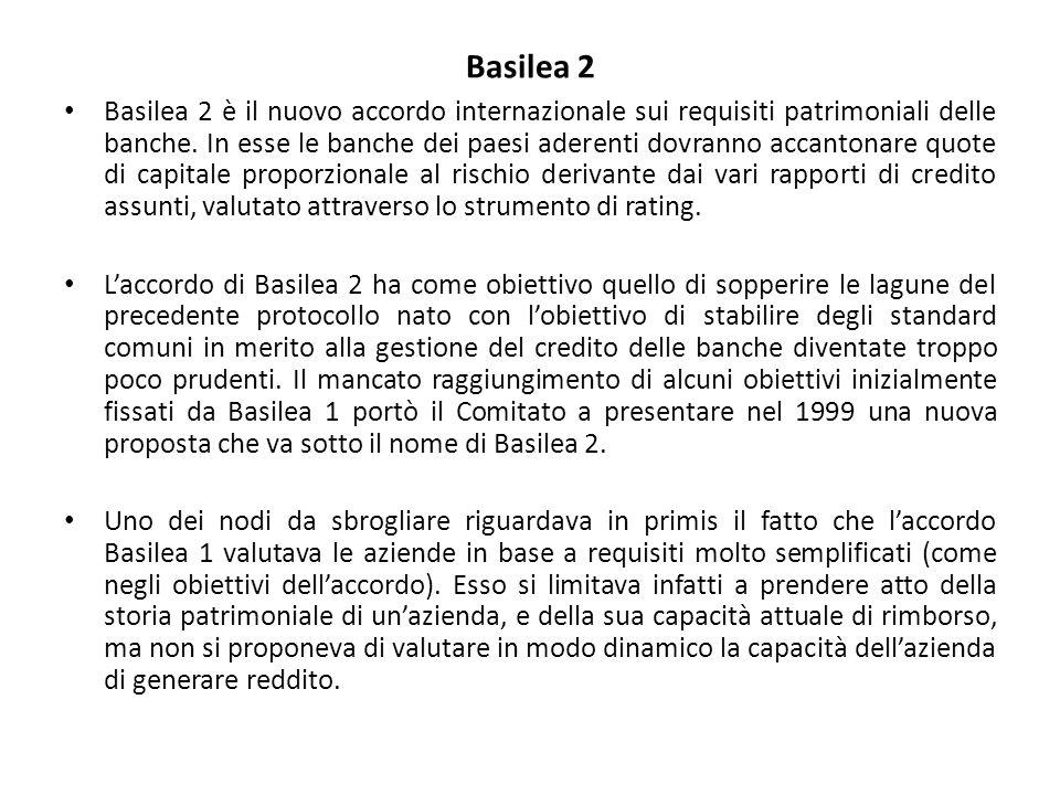 Basilea 2 Basilea 2 è il nuovo accordo internazionale sui requisiti patrimoniali delle banche. In esse le banche dei paesi aderenti dovranno accantona