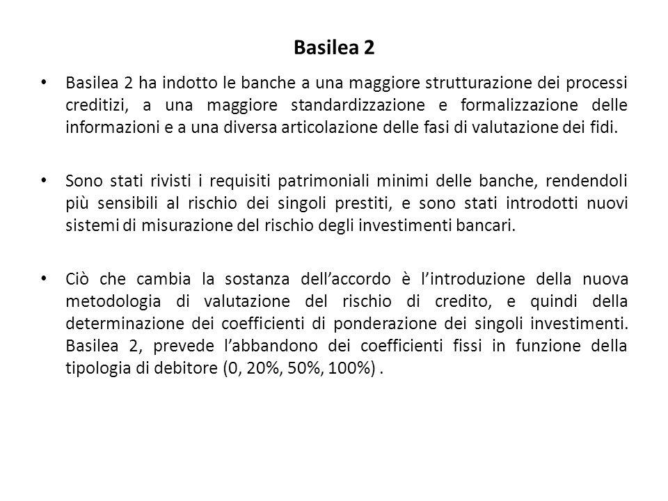 Basilea 2 Basilea 2 ha indotto le banche a una maggiore strutturazione dei processi creditizi, a una maggiore standardizzazione e formalizzazione delle informazioni e a una diversa articolazione delle fasi di valutazione dei fidi.