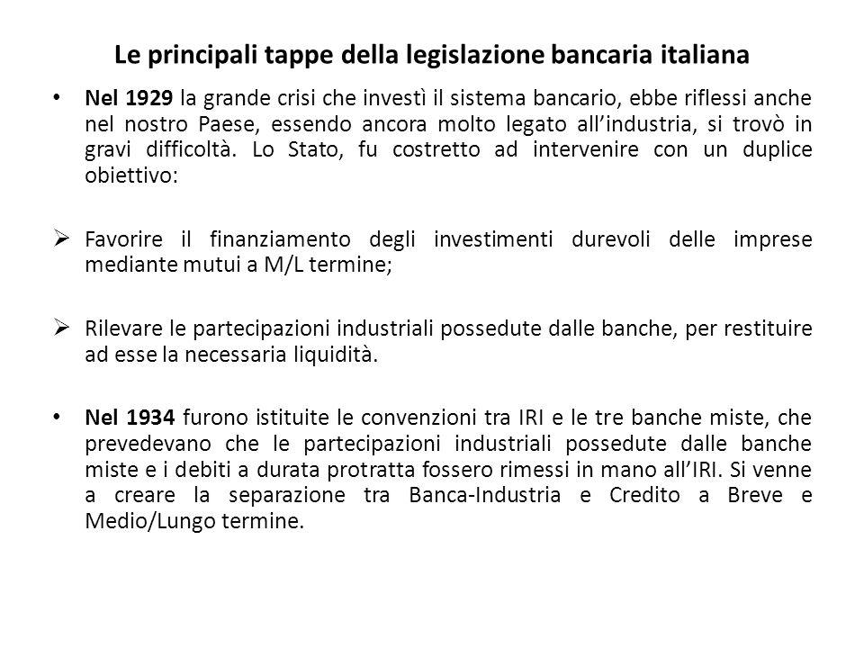 Le principali tappe della legislazione bancaria italiana Nel 1929 la grande crisi che investì il sistema bancario, ebbe riflessi anche nel nostro Paese, essendo ancora molto legato all'industria, si trovò in gravi difficoltà.