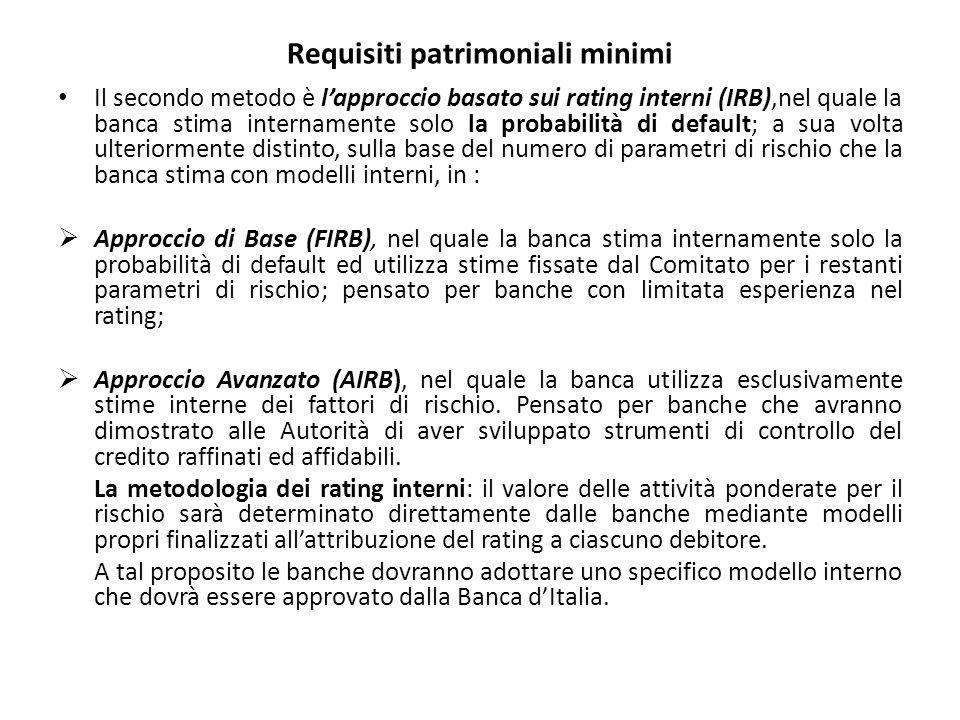Requisiti patrimoniali minimi Il secondo metodo è l'approccio basato sui rating interni (IRB),nel quale la banca stima internamente solo la probabilità di default; a sua volta ulteriormente distinto, sulla base del numero di parametri di rischio che la banca stima con modelli interni, in :  Approccio di Base (FIRB), nel quale la banca stima internamente solo la probabilità di default ed utilizza stime fissate dal Comitato per i restanti parametri di rischio; pensato per banche con limitata esperienza nel rating;  Approccio Avanzato (AIRB), nel quale la banca utilizza esclusivamente stime interne dei fattori di rischio.