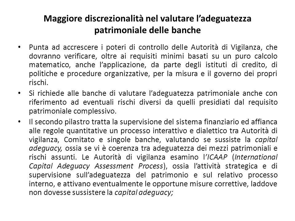 Maggiore discrezionalità nel valutare l'adeguatezza patrimoniale delle banche Punta ad accrescere i poteri di controllo delle Autorità di Vigilanza, c