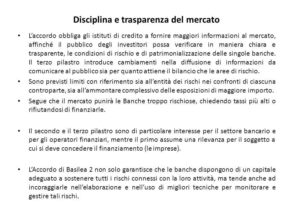 Disciplina e trasparenza del mercato L'accordo obbliga gli istituti di credito a fornire maggiori informazioni al mercato, affinché il pubblico degli