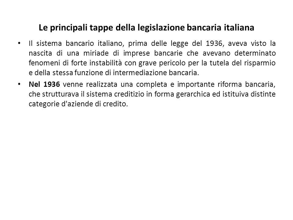 Le principali tappe della legislazione bancaria italiana Il sistema bancario italiano, prima delle legge del 1936, aveva visto la nascita di una miriade di imprese bancarie che avevano determinato fenomeni di forte instabilità con grave pericolo per la tutela del risparmio e della stessa funzione di intermediazione bancaria.