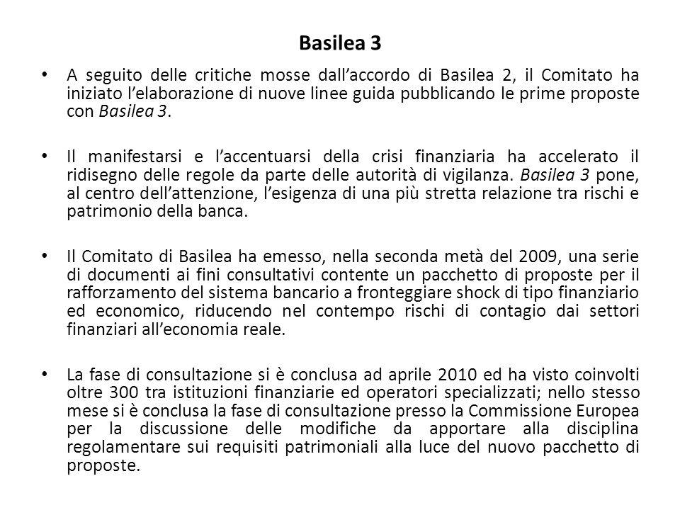 Basilea 3 A seguito delle critiche mosse dall'accordo di Basilea 2, il Comitato ha iniziato l'elaborazione di nuove linee guida pubblicando le prime p