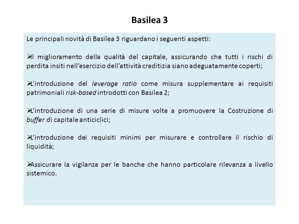 Basilea 3 Le principali novità di Basilea 3 riguardano i seguenti aspetti:  Il miglioramento della qualità del capitale, assicurando che tutti i rischi di perdita insiti nell'esercizio dell'attività creditizia siano adeguatamente coperti;  L'introduzione del leverage ratio come misura supplementare ai requisiti patrimoniali risk-based introdotti con Basilea 2;  L'introduzione di una serie di misure volte a promuovere la Costruzione di buffer di capitale anticiclici;  L'introduzione dei requisiti minimi per misurare e controllare il rischio di liquidità;  Assicurare la vigilanza per le banche che hanno particolare rilevanza a livello sistemico.