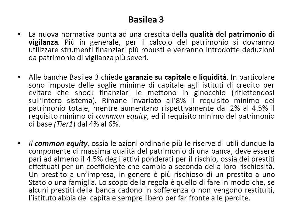 Basilea 3 La nuova normativa punta ad una crescita della qualità del patrimonio di vigilanza. Più in generale, per il calcolo del patrimonio si dovran