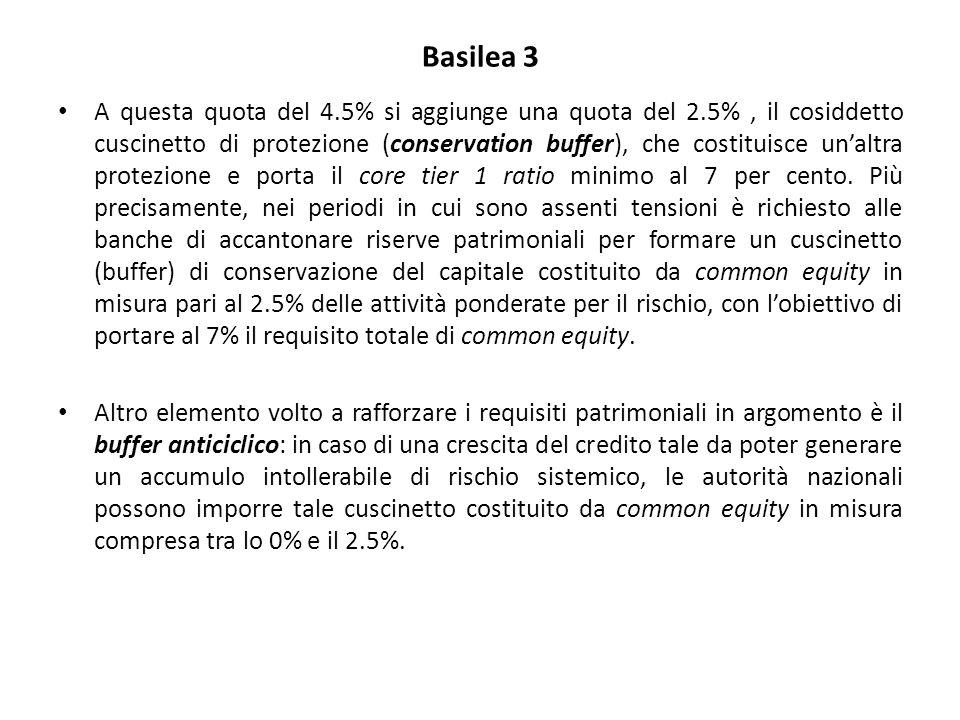Basilea 3 A questa quota del 4.5% si aggiunge una quota del 2.5%, il cosiddetto cuscinetto di protezione (conservation buffer), che costituisce un'altra protezione e porta il core tier 1 ratio minimo al 7 per cento.