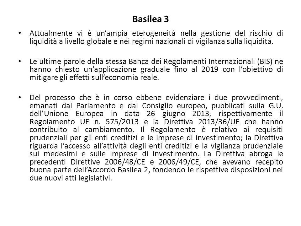 Basilea 3 Attualmente vi è un'ampia eterogeneità nella gestione del rischio di liquidità a livello globale e nei regimi nazionali di vigilanza sulla liquidità.