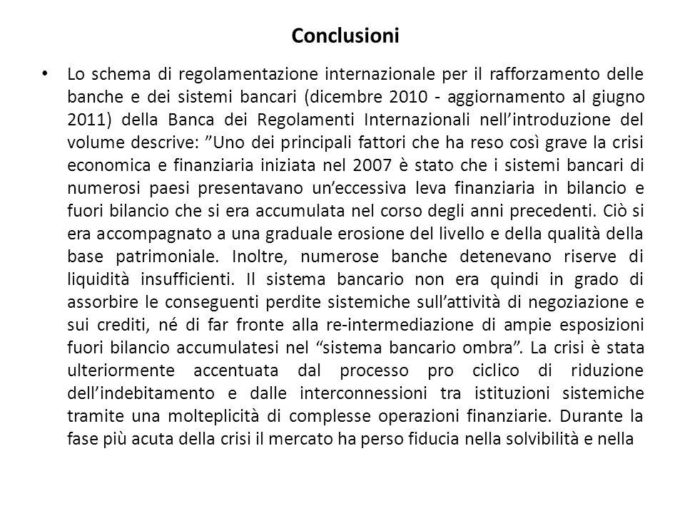 Conclusioni Lo schema di regolamentazione internazionale per il rafforzamento delle banche e dei sistemi bancari (dicembre 2010 - aggiornamento al giu