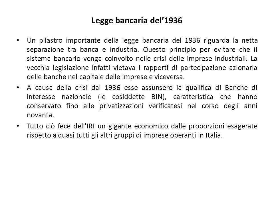 Legge bancaria del'1936 Un pilastro importante della legge bancaria del 1936 riguarda la netta separazione tra banca e industria. Questo principio per