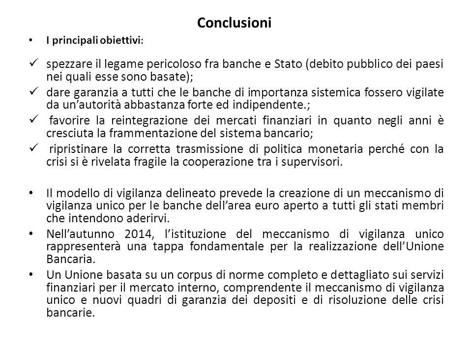 Conclusioni I principali obiettivi : spezzare il legame pericoloso fra banche e Stato (debito pubblico dei paesi nei quali esse sono basate); dare gar