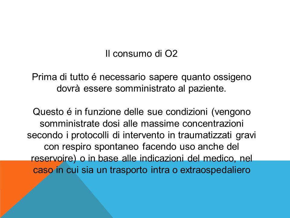 Il consumo di O2 Prima di tutto é necessario sapere quanto ossigeno dovrà essere somministrato al paziente.