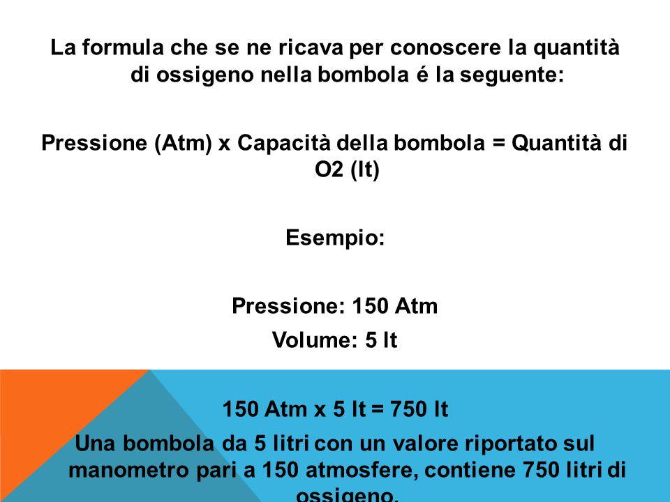 La formula che se ne ricava per conoscere la quantità di ossigeno nella bombola é la seguente: Pressione (Atm) x Capacità della bombola = Quantità di O2 (lt) Esempio: Pressione: 150 Atm Volume: 5 lt 150 Atm x 5 lt = 750 lt Una bombola da 5 litri con un valore riportato sul manometro pari a 150 atmosfere, contiene 750 litri di ossigeno.