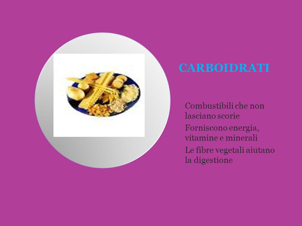 CARBOIDRATI Combustibili che non lasciano scorie Forniscono energia, vitamine e minerali Le fibre vegetali aiutano la digestione